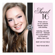 Pink Black Photo Sweet 16 Birthday Party Personalized Invitations