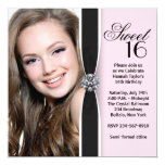"Pink Black Photo Sweet 16 Birthday Party 5.25"" Square Invitation Card"