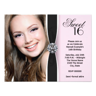 Pink Black Photo Sweet 16 Birthday Party Custom Invitation