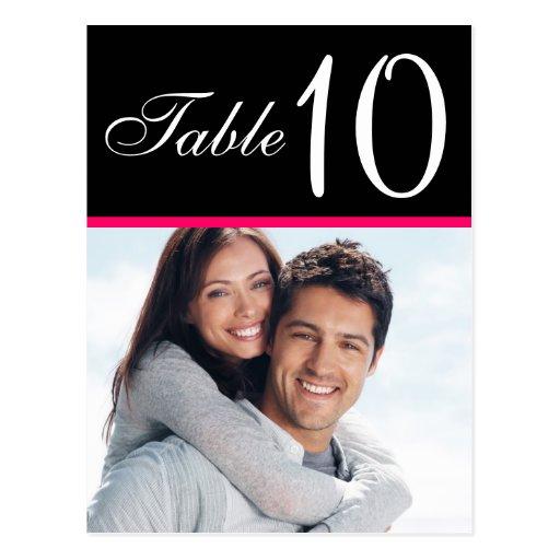 Pink Black Photo Wedding Table Number Cards Postcards