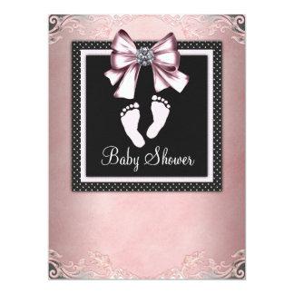 Pink Black Pink Footprints Baby Shower Card