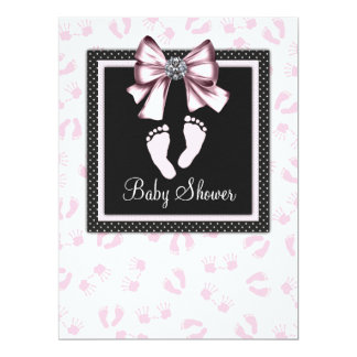 Pink Black Pink Footprints Baby Shower Card
