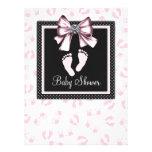 Pink Black Pink Footprints Baby Shower Custom Invites