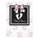 Pink Black Pink Footprints Baby Shower Personalized Announcements