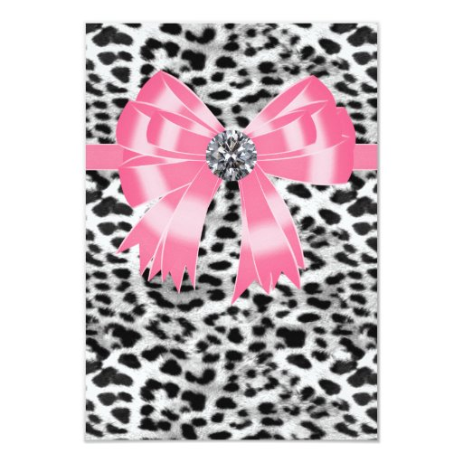 Pink Black Pink Leopard Party RSVP Template 3.5x5 Paper Invitation Card