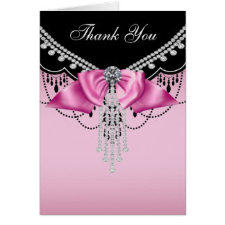 Pink Black Pink Princess Thank You Cards