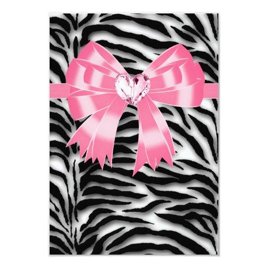 Pink Black Pink Zebra All Occasion Party RSVP Card