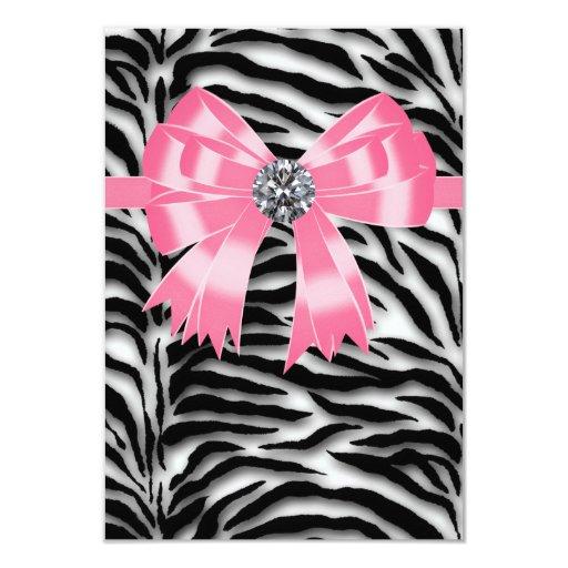 Pink Black Pink Zebra RSVP Template Card