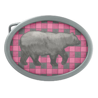 Pink Black Plaid Check Belt Buckle with Bear