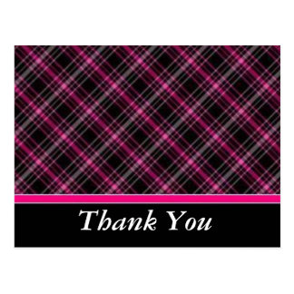 Pink & Black Plaid Thank You Postcard