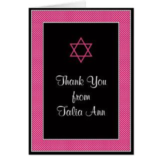 Pink Black Polka Dot Bat Mitzvah Thank You Card
