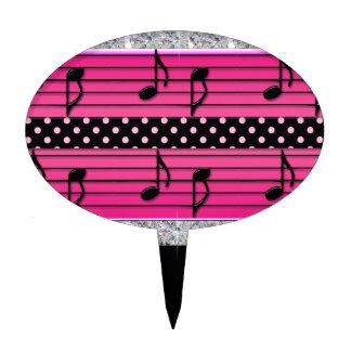 Pink & Black Polka Dot Diamonds & Musical Notes Cake Picks