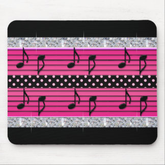 Pink & Black Polka Dot Diamonds & Musical Notes Mouse Pad