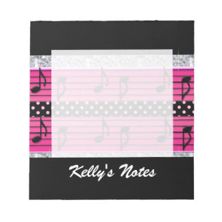 Pink & Black Polka Dot Diamonds & Musical Notes Notepad
