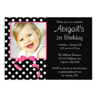 Pink Black Polka Dot Girl Photo 1st Birthday Party 5x7 Paper Invitation Card