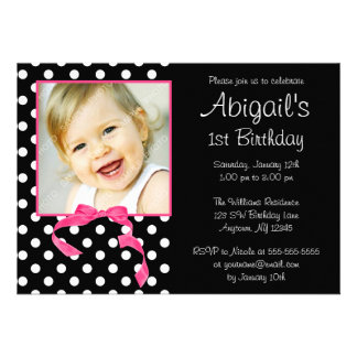 Pink Black Polka Dot Girl Photo 1st Birthday Party Personalized Announcements