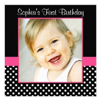 Pink Black Polka Dot Girl Photo 1st Birthday Party Custom Invitation