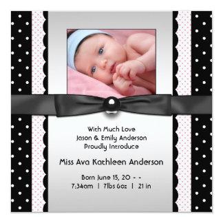 Pink Black Polka Dot Girl Photo Birth Announcement