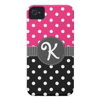 Pink & Black Polka Dot iPhone Case with Ribbon