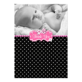 Pink Black Polka Dot Photo Baby Thank You Card Personalized Invitations