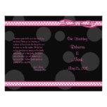 Pink Black Polka Dot Ribbon Bow Wedding Program Flyer