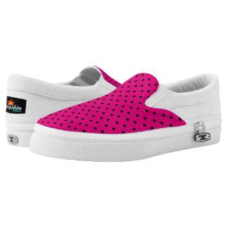 Pink & Black Polka Dot Slip Ons Printed Shoes