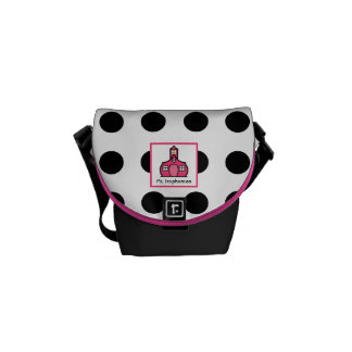 Pink & Black Polka Dot Teacher Mini Messenger Bag