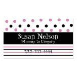 Pink & Black Polka Dots and Stripes Mommy Card Business Card Template