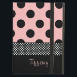 "Pink &amp; Black Polka Dots iPad Air Case<br><div class=""desc"">Girly iPad Air case, with built in stand and graphics pink with black polka dot pattern over the top half of the case. The bottom of the case is done in solid black and a black and white polka dot band runs in between the two backgrounds. Pink script text, on...</div>"