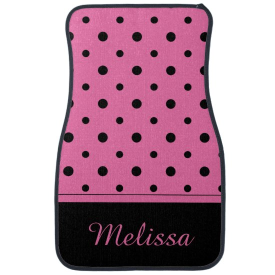 Pink Black Polka Dots Monogram Set of 4 Floor Mats