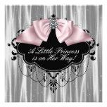 Pink Black Princess Baby Girl Shower Custom Announcement