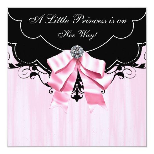 Pink Black Princess Baby Shower Invitations