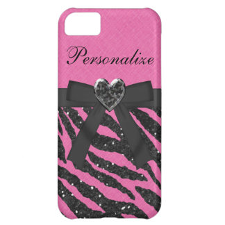 Pink & Black Printed Zebra Glitter & Bow Case For iPhone 5C