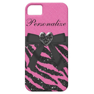 Pink & Black Printed Zebra Glitter & Bow iPhone SE/5/5s Case