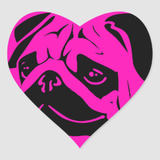 Pink black pug face silhouette design heart sticker