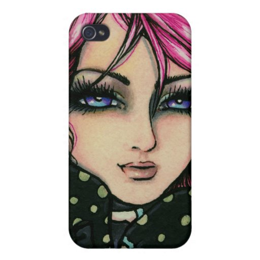 Pink & Black Punk Fairy Genevieve Fantasy Art iPhone 4/4S Covers