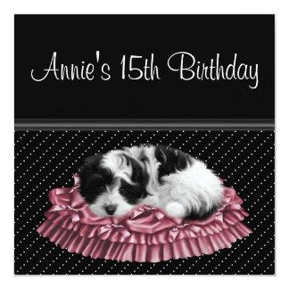 Pink Black Puppy Girls 15th Birthday Party Card
