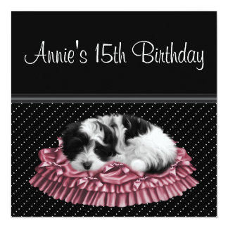 Pink Black Puppy Girls 15th Birthday Party 5.25x5.25 Square Paper Invitation Card