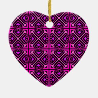 Pink Black Purple Abstract Nouveau Pattern Ceramic Ornament