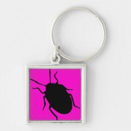 Pink black razberry fashion beetle keychain