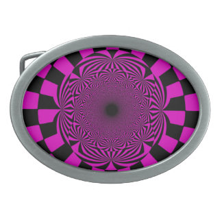Pink Black Retro Swirl Paint Abstract Art Belt Buckle