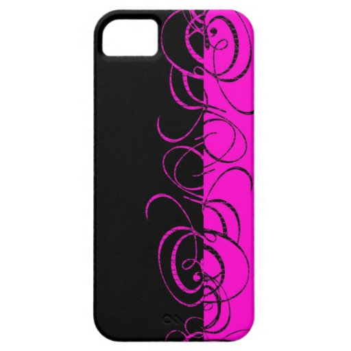 Pink black reverse swirl pattern iPhone 5 cover