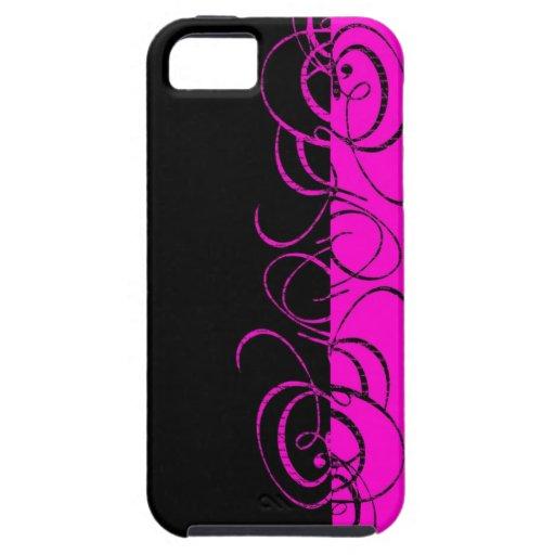Pink black reverse swirl pattern iPhone 5/5S case