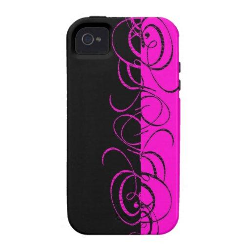 Pink black reverse swirl pattern iPhone 4/4S covers