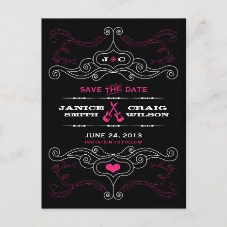 Pink & Black Rock 'n' Roll Music Themed Wedding Announcement Postcard