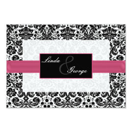 Pink Black Damask Wedding Invitations
