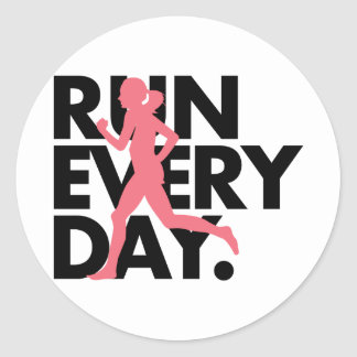 "Pink/Black ""Run Every Day"" Classic Round Sticker"