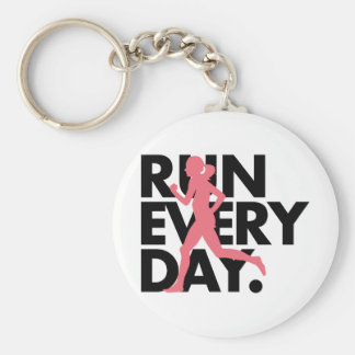 "Pink/Black ""Run Every Day"" Key Chain"