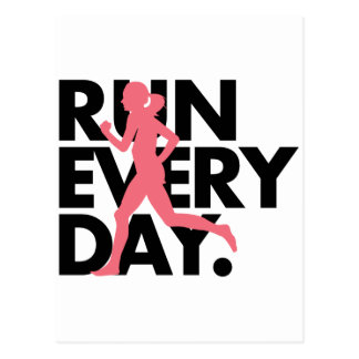 "Pink/Black ""Run Every Day"" Postcard"