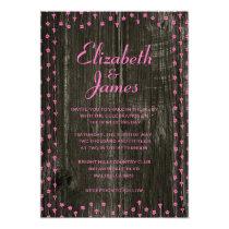 Pink & Black Rustic Barn Wood Wedding Invitations Invite